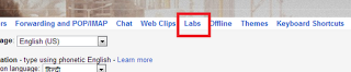 Gmail labs page
