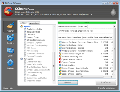 CCleaner, clean up windows PC and improve performance