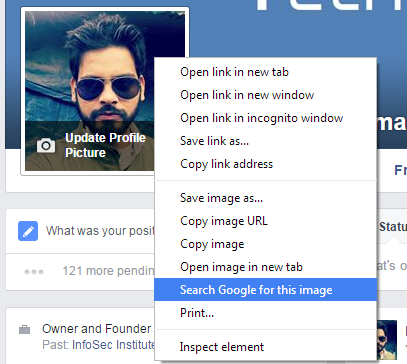 Use Google Reverse Image search to Detect Fake Profile Picture