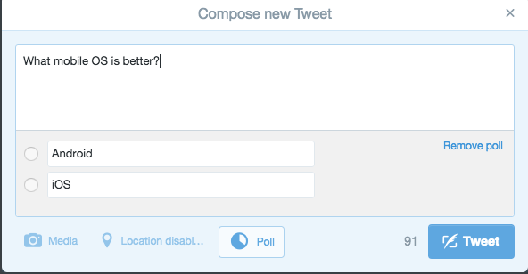 How to create poll in Twitter