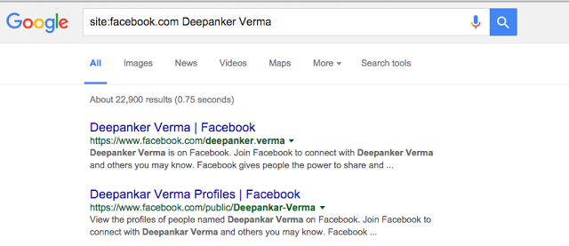Use Google search to find a person on Facebook