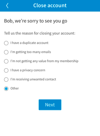 delete your LinkedIn account on your smartphone